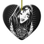 Mother Mary Chicano Art Ceramic Ornament  Mother Mary Chicano Art Ceramic Ornament  $18.95  by Everstock  . More Designs http://bit.ly/2fwNuVk #zazzle