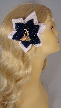 Nautical Antique Sailboat Polka Dot Pinup Hair Flower