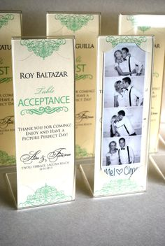 Photo Booth Acrylic Frames with Custom inserts, A party favor and escort card in one.