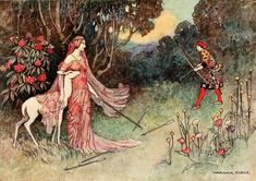 """""""By the care of the Fairy Tulip, she was not wounded."""" Beautiful #PublicDomain art by Warwick Goble, THE FAIRY BOOK, Project Gutenberg Canada http://www.gutenberg.ca/ebooks/craikd-fairybook/craikd-fairybook-00-h-dir/images/fp358.jpg"""