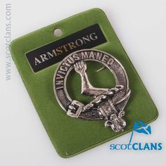 Armstrong Clan Crest Badge. Free worldwide shipping available.