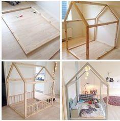 Picture result for diy juniorseng - Kinderbett - Family Toddler Floor Bed, Toddler House Bed, Diy Toddler Bed, Toddler Rooms, Girl Toddler, Couple Bedroom, Small Room Bedroom, Baby Bedroom, Kids Bedroom