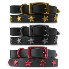 Platinum Pets - Black Genuine Leather Cat / Puppy Collar with Stars available at http://www.zoepetsupply.com