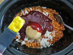 The Country Cook: Crock Pot Baked Beans  Recipe can be adjusted to suit your taste.  Also, you can cook bacon, then sauté onion in a little of the bacon grease before adding. @marinaaavic