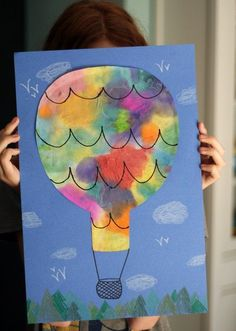 """Baby David"" ❤️❤️❤️ Colorful hot air balloon craft project with watercolors and coffee filters! Transportation Activities, Art Activities, Daycare Crafts, Classroom Crafts, Art For Kids, Crafts For Kids, Arts And Crafts, Adult Crafts, Kindergarten Art"