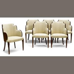 A Set Of Six French Art Deco Burl Wood And Fabric Upholstered Dining Chairs Circa 1930