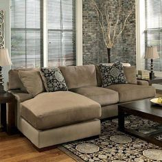 With the oversized set-back arms and comfortable pillow back design, the stylish contemporary look of the Grenada - Mocha Left Chaise Small Sectional by Millennium by Ashley Furniture is the perfect… Small Living Room Layout, Small Living Room Furniture, Living Room Furniture Arrangement, Small Room Design, Family Room Design, Small Living Rooms, Furniture Layout, Living Room Modern, Home Living Room