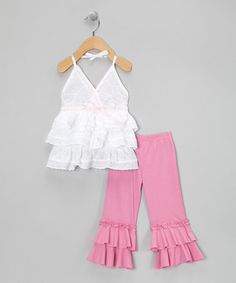 Take a look at this Pink Ruffle Surplice Tunic & Leggings - Infant, Toddler & Girls by Lele for Kids on #zulily today!