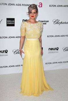 kelly osbourne elton john aids foundation yellow dress
