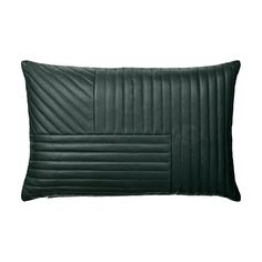 AYTM Decorative Quilted Leather Motum Cushion- Forest Green Leather Throw Pillow