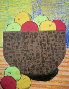 Cut paper apples 2nd grade (I have also used real apple halves to make prints with tempera)