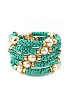 Pearlescent Mint Turquoise Wrap Bracelet-- LOVE