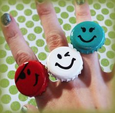 Make some quirky rings From: If You Keep Your Bottle Caps, You Can Do These 20 Epic Things With Them x-Viral.com