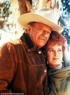 O'Hara is pictured above with erstwhile on-screen partner John Wayne in the Western Big Jake