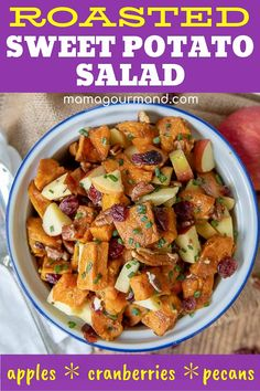 Sweet Potato Salad recipe has roasted sweet potatoes, pecans, apples, and dried cranberries tossed in an easy maple mustard vinaigrette dressing. Comforting Roasted Sweet Potato Salad is a vegan and gluten free recipe that may be served warm or cold. Best Salad Recipes, Salad Dressing Recipes, Vinaigrette Dressing, Healthy Recipes, Lettuce Recipes, Yummy Recipes, Sweet Potato Pecan, Salad With Sweet Potato, Cold Sweet Potato Salad Recipe