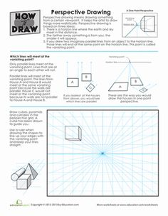 Middle School Geometry Drawing  Painting Worksheets: How to Draw Perspective