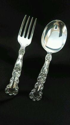 Gorham Buttercup Sterling Silver Salad Serving Set Fork /& Spoon Old mark