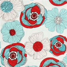 white flower fabric by Robert Kaufman red teal