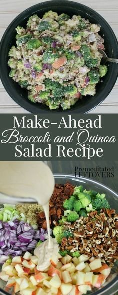 Easy Make-Ahead Broccoli and Quinoa salad Recipe. Quinoa makes a hearty addition to broccoli salad. Includes broccoli quinoa apple pecans bacon and onions. Serve as a side dish for dinner or make a meal of it for a healthy lunch. Making this yummy qu Yummy Quinoa Recipes, Healthy Salad Recipes, Vegetarian Recipes, Cooking Recipes, Avocado Recipes, Rice Recipes, Make Ahead Salads, Quinoa Salat, Clean Eating