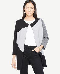 #Ann Taylor - #Ann Taylor Ann Taylor Petite Colorblock Sweater Coat - AdoreWe.com