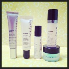 I just used the renewal cream tester I had and I'm loving the effect. Brightening, toning and soft. This set is definitely on my shopping list next time around. Mary Kay eye renewal cream, age-fighting eye cream, eye revitalizer, firming eye cream, & soothing eye gel.