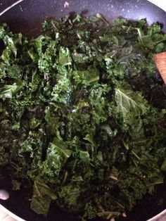 My Favorite Sauteed Kale. SO good with garlic mashed potatoes, roast with sauce made from deglazing pan with wine.  YUM