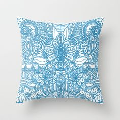 Floral Turquesa Throw Pillow