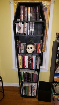 My Coffin Bookshelf, it has a separate door. Victorian Gothic Decor, Gothic Room, Tapestry Bedroom, Wall Tapestry, Room Decor Bedroom, Living Room Decor, Horror Room, Goth Home, Diy House Projects
