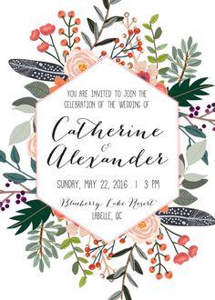 Druckbare Hochzeit Einladung Set Einladung von WhiteWillowPaperCo