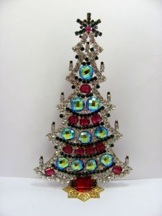 Czech-Rhinestone-a-CHRISTMAS-TREE-STAND-UP-signed-HUSAR-D-A409