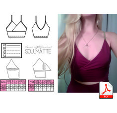 Woman - bralette - top pattern. Made for stretchy lycra fabric. This is the pattern in sizes XS, S, M, L ( EU 34, 36, 38, 40, 42). The Pattern in PDF format. You will need to glue on some details together. The patterns don't include a tutorial on how to sew. Handmade Skirts, Handmade Clothes, Disco Costume, Queen Hat, Swimsuit Pattern, Queen Costume, Vintage Inspired Fashion, Costume Patterns, Pdf Patterns