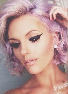Beauty Lover: Look do dia 1 #lidiceba #beautyloverbylidice #cabelopurpura #purplehair #delineador #rimel #