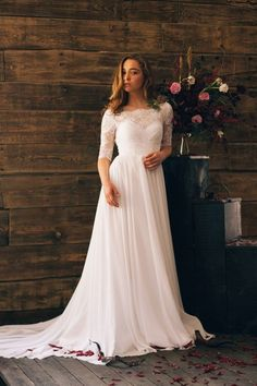 modest summer wedding dress with lace 3/4 sleeves and boat neck