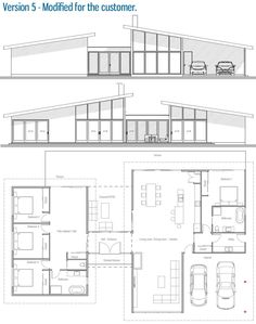 Mid Century Modern plans-Customer House Plan / Modified Home Plan Modern Floor Plans, Modern House Plans, Modern House Design, House Roof Design, New House Plans, Dream House Plans, Small House Plans, Building Plans, Building A House