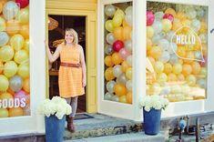 Hello Yellow logo design & window display / The Sweet Escape #retail
