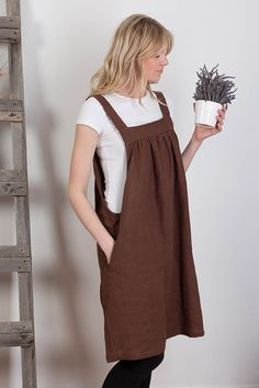 Linen Overalls Linen Apron Dress Washed Linen Summer Pinafore Brown Artist Smock Japanese Apron Flax Tunic Made to Order Plus Size