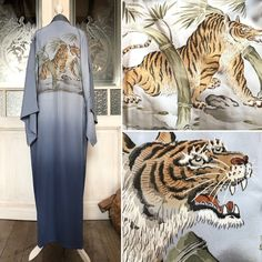 "Etsy のVintage Männer ""Nagajuban"" Kimono robe im Blau mit prächtigen Tiger Muster / Kimono aus Seide / Kimono Mantel / Männer Kimono / Nagajuban(ショップ名:TodaysCoordinate) Male Kimono, Kimono Coat, Different Blue Colors, Blue Color Combinations, Boho Gown, Kimono Pattern, Dark Blue Color, Under The Lights, Pastel Blue"
