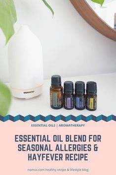 Essential Oil Blend for Seasonal Allergies & Hayfever Recipe Essential Oils For Breathing, Essential Oil Diffuser Blends, Lemon Essential Oils, Easential Oils, Doterra Essential Oils, Doterra Blends, Doterra Allergies, Essential Oil Mixtures, Oils For Sinus