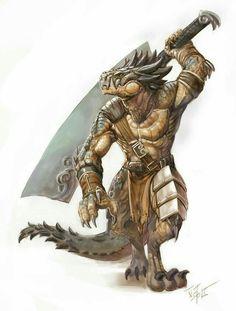 Half Dragon Barbarian - Pathfinder PFRPG DND D&D d20 fantasy