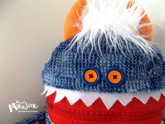Cuddle Monster BLUE FIESTA zipper mouth pillow by MostlyMonstersCV, $27.95