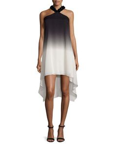 Embellished+Halter-Neck+Ombre+Dress,+Black/Oyster+by+Halston+Heritage+at+Neiman+Marcus.