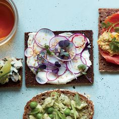 Radish Tea Sandwiches with Miso Yogurt   These lovely tea sandwiches from Justin Chapple are super-adaptable. You can use butter or full-fat yogurt instead of fat-free yogurt, and you can substitute sliced baby turnips or daikon for the radishes.