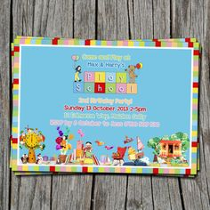 Kids Birthday Invitation Playschool ABC by EmbellisheDesigns Third Birthday, 4th Birthday Parties, Birthday Ideas, School Birthday, Birthday Invitations Kids, School Themes, School Parties, Childrens Party, Party Planning