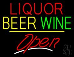 Liquor Beer Wine Open Yellow Line Neon Sign 24 Tall x 31 Wide x 3 Deep, is 100% Handcrafted with Real Glass Tube Neon Sign. !!! Made in USA !!!  Colors on the sign are Red, Yellow, Green and White. Liquor Beer Wine Open Yellow Line Neon Sign is high impact, eye catching, real glass tube neon sign. This characteristic glow can attract customers like nothing else, virtually burning your identity into the minds of potential and future customers.