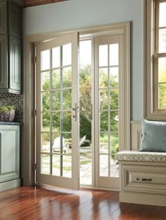 French doors work well stylistically on traditional homes. Hinged doors that swing inward need extra room inside to open so are not appropriate where interior space is tight. Photo courtesy of Milgard