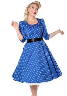 Veronica In Blue, dress by Hearts and Roses London  #blue #dress #polkadot…