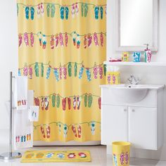 Allure Home Creations Sun And Sand Fabric Shower Curtain, Multicolor  Flip Flop Shower Curtain