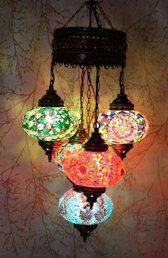 Turkish Style Mosaic Hanging Lamp Light Hand Craft 5 Large Globe