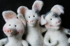 three pigs, needle felting