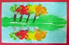 Fall Reflections Monoprinting Lesson Plan: Printmaking Lessons for Kids: KinderArt ®